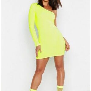 Neon yellow/ green one shoulder dress